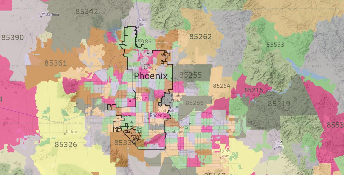 Phoenix Zip Code Map 2016.Zip Code Maps Business Chronos